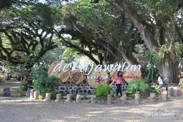 Bagian depan hutan De Djawatan dengan spot berfoto bagi pengunjung