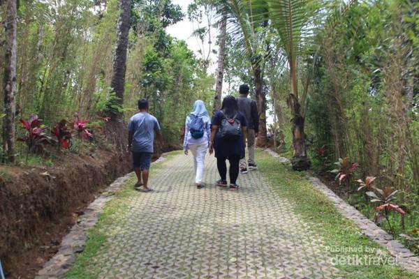 Pintu masuk ke Taman Gandrung Terakota dengan pepohonan dikanan kirinya.