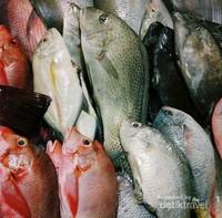 Pilihan ikan segar di Pasar Malam Kampung Solor, Kupang.