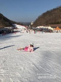 Jatuh adalah hal lumrah bagi pemula ketika bermain ski