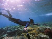 Walaupun kedalaman bawah lautnya indah namun tetap harus berhati-hati karena arus di sini lumayan kencang