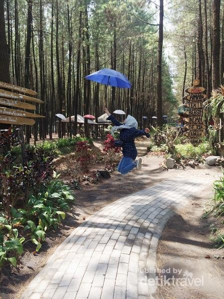 Payung-payung dan tulisan disini sangat unik buat foto-foto