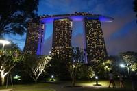 Kemegahan Marina Bay Sands diabadikan dari salah satu spot di Gardens by the Bay