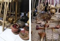 Model makam dan tulang belulang asli