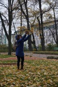 Daun-daun yang berguguran pun bisa jadi objek foto yang kece