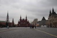 Red Square dengan State Historical Museum, Lenin Mausoleum dan GUM