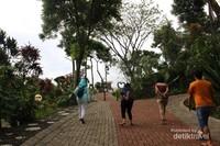 Berjalan-jalan di sekitar lokasi dengan jalan yang rapi dan pepohonan di sekitarnya.