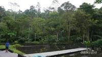 Jalan menuju Gua Maria dengan jembatan di tengah kolam.