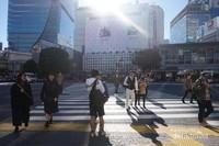 Saat lampu merah menyala untuk para pengendara kendaraan bermotor, para pejalan kaki serentak menyeberang jalan dari seluruh penjuru