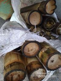 bambu yang digunakan untuk memasak lemang dengan cara dibakar
