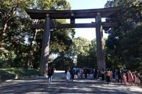 Torii, gerbang masuk Meiji Jingu yang menunjukkan batas antara tempat tinggal dewa dan manusia