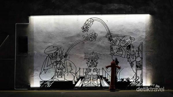 salah satu yang unik di Penang adalah keberadaan Street Art (Seni Gambar di Jalan) namun ada juga yang memanfaatkan dari olah bahan logam yang di desuni sedemikian rua. sebuah keahlian craftsmanship yang memadai. (Foto: Aryasuta)