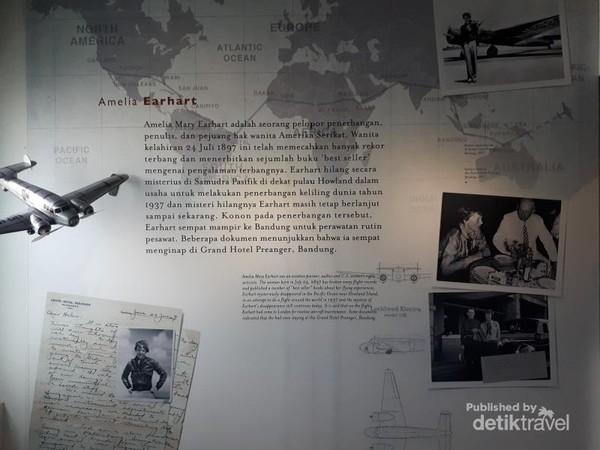 Amelia Earhart, penerbang perempuan asal Amerika yang hilang secara misterius di Samudera Pasifik pernah menginap di Hotel Grand Preanger