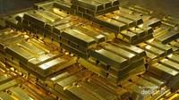 Tumpukan emas batangan yang ada di salah satu bagian museum.