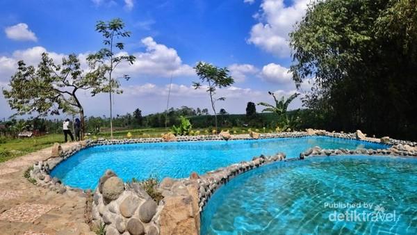 Dari pintu masuk, belok kiri. Tidak ada salahnya berenang dulu sebelum menjelajahi taman bambu. Traveler bisa merasakan sensasi berenang dengan pemandangan sawah