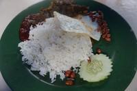 Nasi lemak dengan paru di kedai Roti Canai Kayu Arang