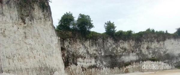 Ada pepohonan di area perbukitan kapur