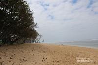 Pantai  yang memanjang dengan pasir putih dan pepohonan di sekitarnya membuat pantai ini selalu ramai pengunjung.