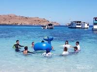 Pantai Pink. Terkenal dengan pasir pantainya yang berwarna pink, pantai ini juga sangat asik untuk bermain floaties bersama teman-teman.