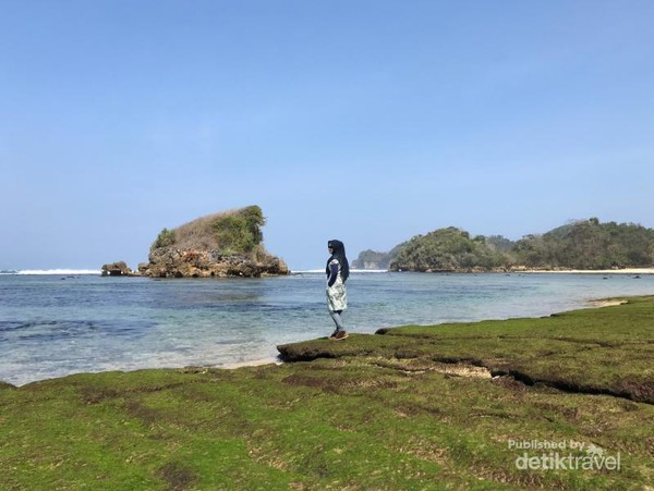 Keindahan Pantai Kondang Merak dengan lumut hijaunya.