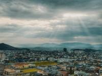 Kota Wakayama dari jendela hotel