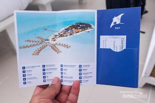 Map - Club Med Kani adalah resort all-in yang berada dalam satu pulau dengan tambahan rumah apung yang menjorok ke laut,