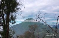 Pemandangan gunung dari jalur pendakian Kawah Ijen.