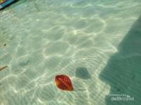Pantulan cahaya matahari di pantai Tanjung Kelayang