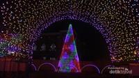 Terowongan dan kerucut dengan ribuan efek dan variasi lampu