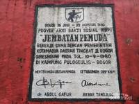 Tembok Peresmian Jembatan Pemuda Desa Pulo Geulis Kota Bogor