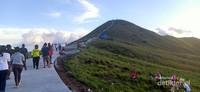 Trekking menuju ke puncak pertama bukit Teletubbies