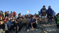 Puncak Gunung Penanggungan yang riuh, didatangi oleh banyak pendaki