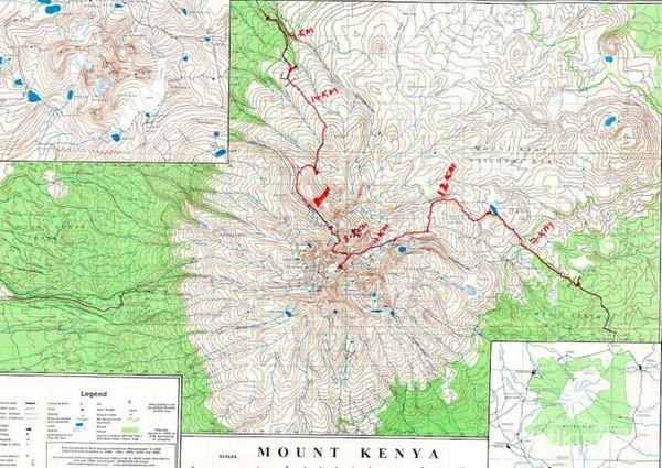 Rute perjalanan pendakian dimulai dari kota Nanyuki dan berakhir di kota Chogoria.