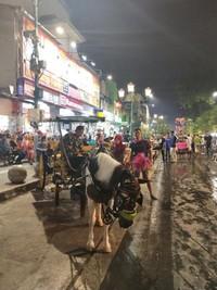 Delman dan becak menjadi opsi transportasi ke Kampung Ketandan.