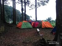 Kumpulan tenda pengunjung yang bermalam di kawasan Hutan Adat Karang Banten