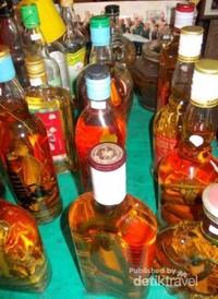 Jajaran minuman berarkohol dengan kalajengking, ular dan sejenisnya.