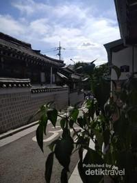 Birunya langit penambah keindahaan nuansa Bukchon Hanok Village siang itu.