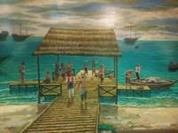 Lukisan bandar-bandar sederhana tempat pekerja angkut pelabuhan