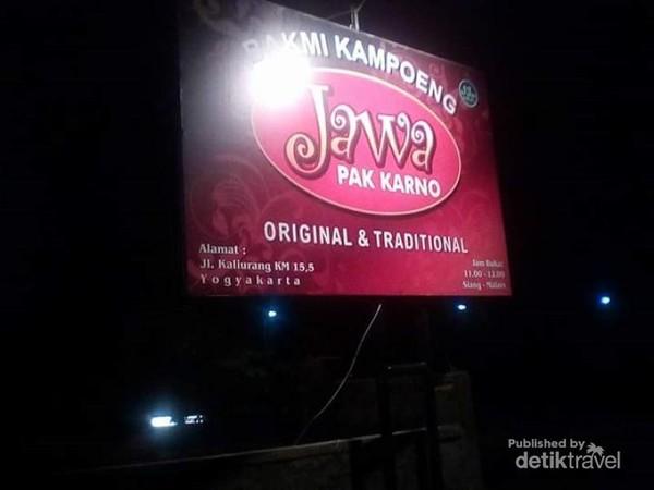 Papan nawa rumah makan Bakmi Kampoeng Jawa Pak Karno