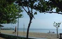 Pinggiran Pantai dalegan yang teduh oleh pepohonan.