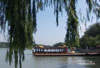 Rindangnya pepohonan di tepian danau Summer Palace.