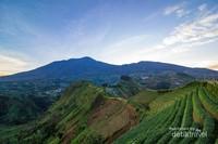 Pemandangan Gunung Cermai dari Wisata Terasiring Panyaweuyan
