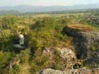 Pemandangan sawah dan batuan gamping yang bisa dilihat dari puncak.