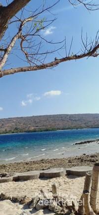 Pemandangan sekitar pulau Menjangan yang didominasi warna biru tua, biru langit, dan toska.