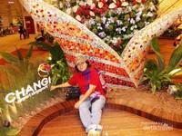 Berfoto di salah satu taman bunga dalam bandara Changi.