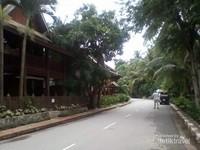 Jalan yang dibangun ditepian sungai Mekong.