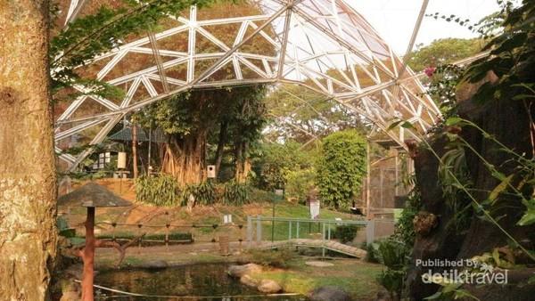 Kolam yang menghubungkan Kubah Barat dan Kubah timur di Taman Burung TMII