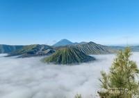 Pemandangan khas landscape Bromo dengan Gunung Batok dan Gunung Semeru.