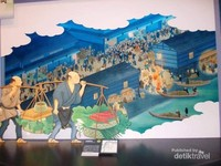 Potret pedagang tradisional Osaka di masa lalu.