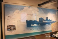 Foto yang menunjukkan sejarah perjalanan Hikawa Maru
